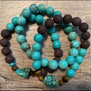 Jewelry - Turqouise, tigers eye and brown lava stone set 3